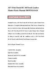 asv posi track rc track loader master parts manual