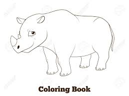 coloring book rhino african cartoon vector educational ilration stock vector 46552791