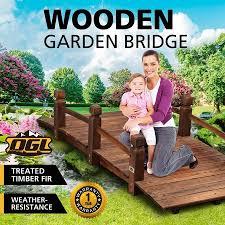 outdoor garden ornament wooden bridge