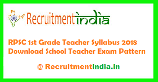 Teacher Syllabus Rpsc 1st Grade Teacher Syllabus 2018 School Teacher Test Pattern