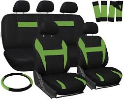 car seat covers for honda civic green black w steering wheel belt pad head rests