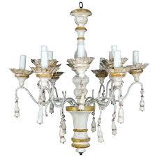 wood and iron chandelier twelve light painted reclaimed