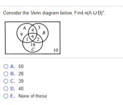 A Ub Venn Diagram Solved Consider The Venn Diagram Below Find N A Ub 3 9