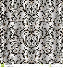 Barok Damast Vector Naadloos Patroon Bloemen Zilveren Achtergrond