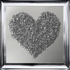 silver frame mirror heart