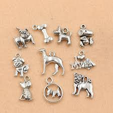 10pc mixed tibetan silver plated animals deer elephant dogs charms pendants jewelry making diy floating charm handmade crafts