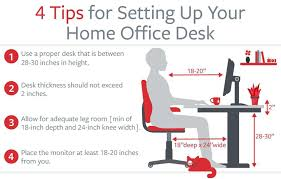 ergonomic desk setup. Office Desk Ergonomics Graphic That Shows How To Set Up Home Workstation Ergonomic Setup U