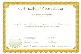 free templates for certificates of appreciation certificate of appreciation free template golden border certificate