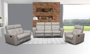 Living Room Furniture Dimensions 8501 Recliner Light Grey Leather Modern 3 Pcs Sets Living Room