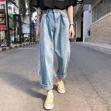 <b>2019 2019 Spring</b> New Ins Port Wind <b>Trousers Couple</b> Denim Shop ...