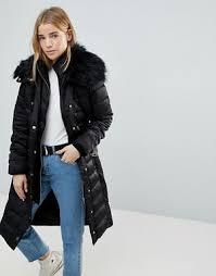 Quilted Coats | Shop for coats & jackets | ASOS & Miss Selfridge Faux Fur Collar Longline Padded Coat Adamdwight.com