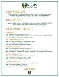 mission vision and values regis catholic schools regis mission vision and values