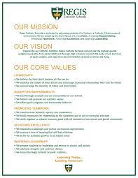 Sample Vision Statement Mission Vision And Values Regis Catholic Schools 3