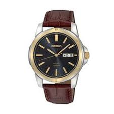 mens seiko watches kohl s seiko men s two tone stainless steel leather solar watch sne102
