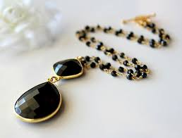 rosary style black onyx pendant necklace jet black gemstone gold vermeil