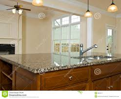 Kitchen Granite Island Luxury Home Kitchen Granite Island Countertop Royalty Free Stock