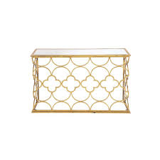 litton lane textured gold mirrored glass rectangular console table with quatrefoil and semi circle pattern