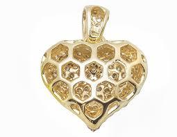 14k yellow gold puffed real vs diamond heart pendant charm 1 65ct 0 7 pnd