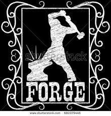 blacksmith forge clipart. blacksmith with a hammer working on the anvil silhouette. chalk text style. symbol forge clipart