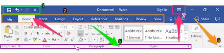 Word Ribbon Creating A New Blank Document And Finding Your Way Around