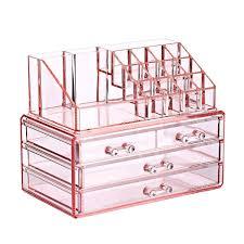two pieces set makeup cosmetics storage drawers organizer pink