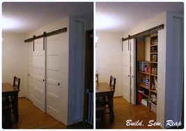 triple sliding pantry door using barn door hardware build sew reap