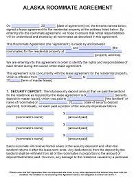 Sample Roommate Contract Free Alaska Roommate Agreement Template Pdf Word