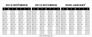 Free Calendar 2019 November December 2020 January Fresh