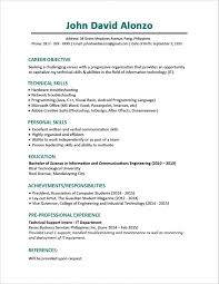 Sample Resume Format For Fresh Graduates One Page Executive Sing