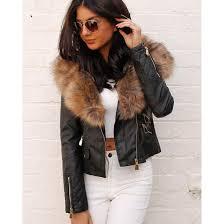 jacket one nation clothing biker jacket leather jacket black leather jacket fur collar black leather jacket