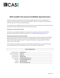 2015 Seattle City Council Candidate Questionnaire