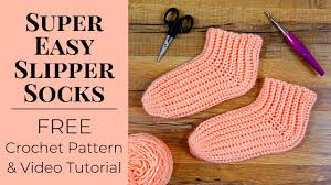 Free Crochet Designs For Beginners Super Easy Slipper Socks Free Crochet Pattern For Beginners Yay For Yarn