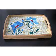 ... Blue Flower Mosaic Glass Serving Tray decorative tray in usa and canada
