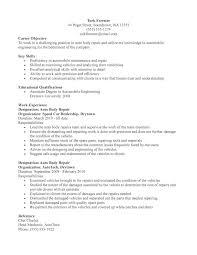 Auto Body Technician Resume Example