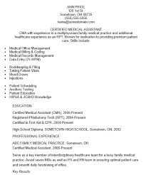 Certified Medical Assistant Resume Interesting Sample Of Medical Assistant Resumes Canreklonecco