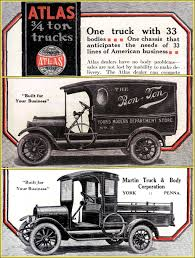 york 4 ton. illustrations in a 1918 automotive trade journal ad for atlas 3/4-ton commercial york 4 ton l