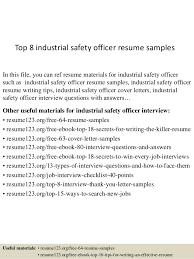 Safety Officer Resume Sample Top 8 Industrial Safety Officer Resume Samples