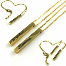 details about personalized engraved name plate vertical bar necklace pendant gold tone 03 04