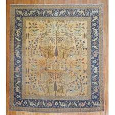 pictorial animal antique persian tabriz rug