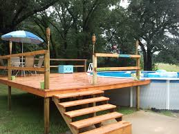 Impressive Image Of Backyard Landscaping Decoration Using Above Ground Round Pool Deck Ideas  Minimalist Picture