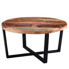 coast handcrafted reclaimed solid wood round coffee table