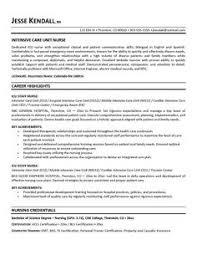 free icu intensive care unit nurse resume example sample care nurse resume