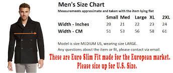 Jack And Jones Shirt Size Chart Mens Euro Slim Fit Wool Peacoat Jacket By Jack Jones