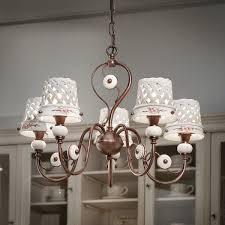 Rustikale Lampen Landhausstil Keramik Messing Kronleuchter
