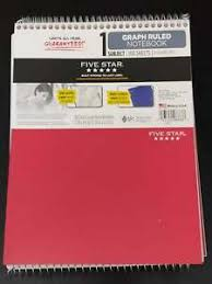 Five Star Graph Paper Notebook Details About New Five Star Top Bound Spiral Notebook 1 Subject Graph Ruled Colors Graphing