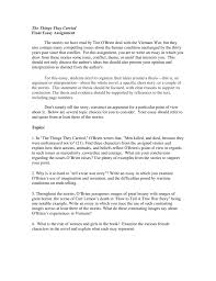 Essay Assignment Examples The Things They Carried Final Essay Assignment