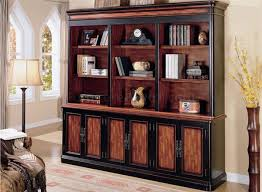 Cherry & Brown Two-Tone Library Wall w/Storage Doors