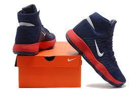 nike basketball shoes hyperdunk 2017. top quality nike hyperdunk 2017 flyknit navy blue red white men\u0027s basketball shoes