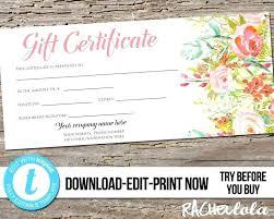 Custom Gift Certificate Templates Free Editable Custom Printable Gift Certificate Template Floral