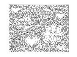 Small Picture Hearts and Flowers Coloring Page Zentangle Inspired